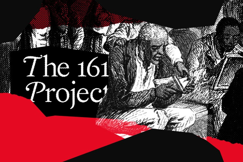"""A photo illustration featuring the text """"The 1619 Project"""" and drawings of colonial-era Black Americans."""