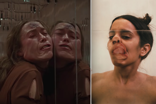 On the left, a woman's face is grotesquely distorted against a mirror. On the right, Ana Mendieta's face is squished against a mirror.