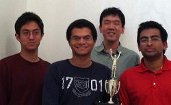 Yale's championship-winning team. From left to right: John Lawrence, Matt Jackson, Kevin Koai, and Ashvin Srivatsa.