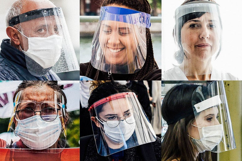 people wearing sheets of plastic over their faces
