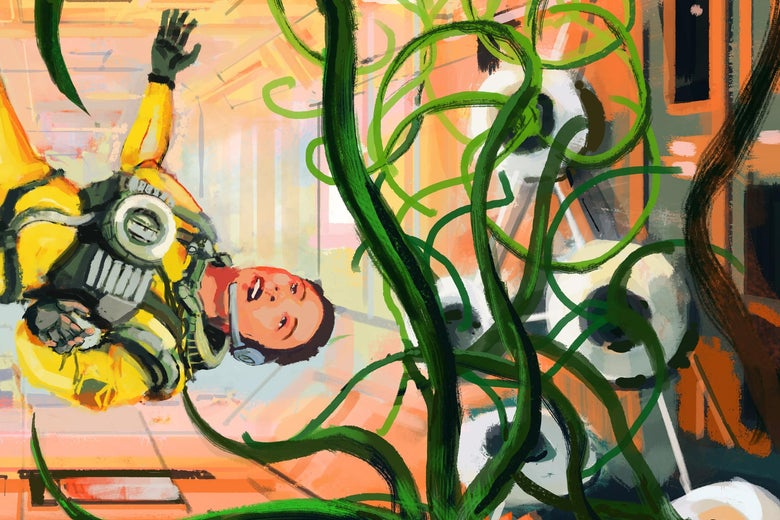 Illustration of an astronaut partially adrift in a room filled with tentacle-like leek plants.