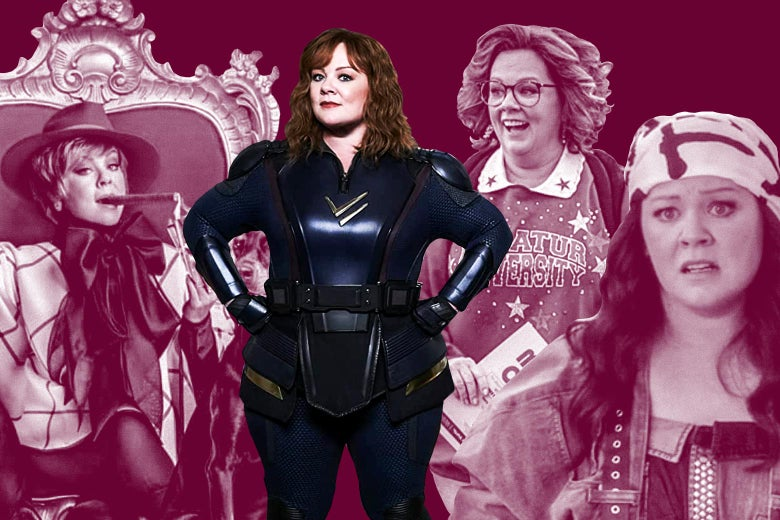 Melissa McCarthy in The Boss, Life of the Party, Tammy, and Thunder Force.