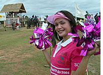 Sis boom bah: A ladyboy urges on her team