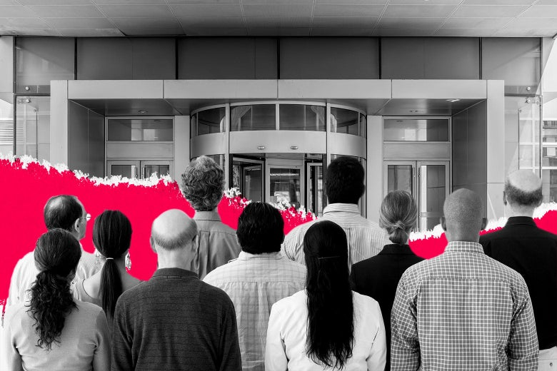 Photo illustration of people congregated at the entrance to a corporate-looking building.