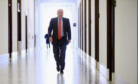 Sen. John McCain (R-AZ) heads to his Russell Senate Office Building office.