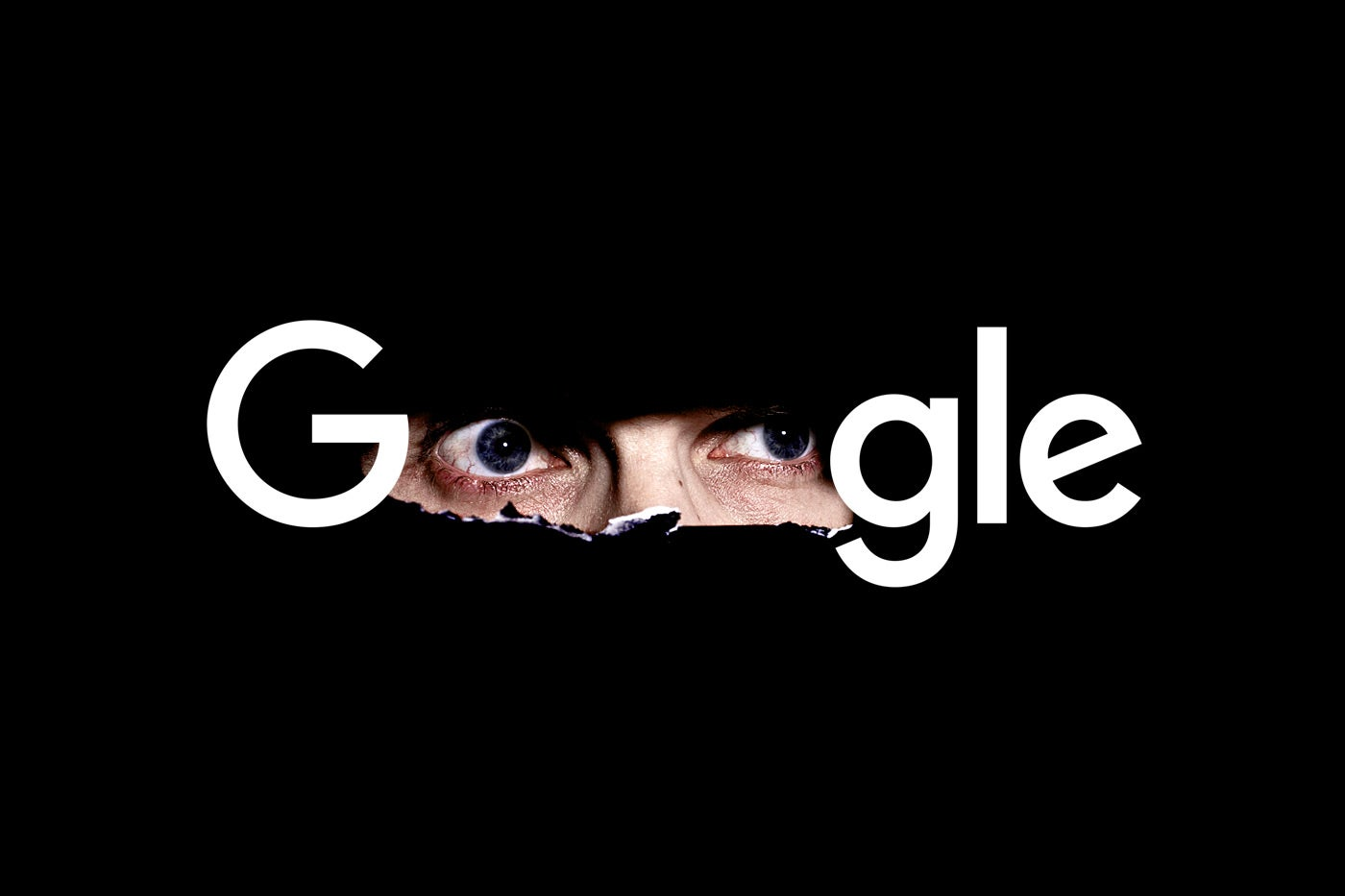 Google logo with the O's looking like spying eyes.