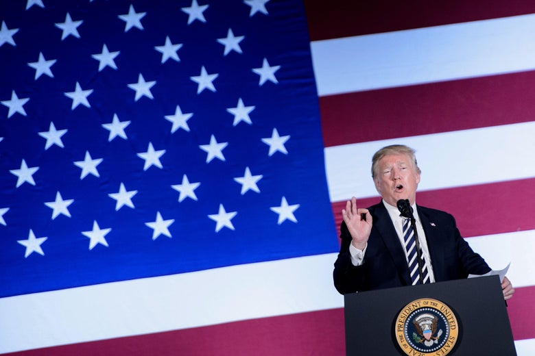 President Donald Trump speaks during a fundraiser at the Carmel Country Club August 31, 2018 in Charlotte, North Carolina.