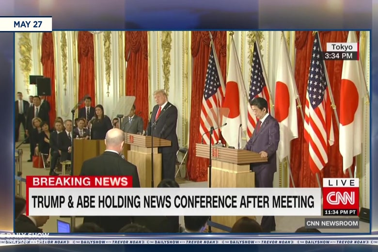 A frame from CNN's coverage of the news conference Shinzō Abe & Donald Trump held in Japan, as seen on The Daily Show.