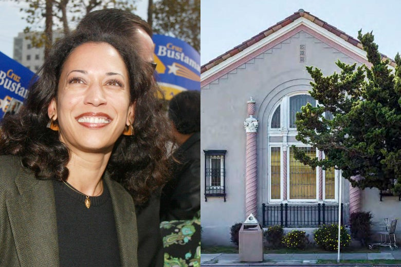 Kamala Harris smiles at a rally. The exterior of a beige building with big windows.