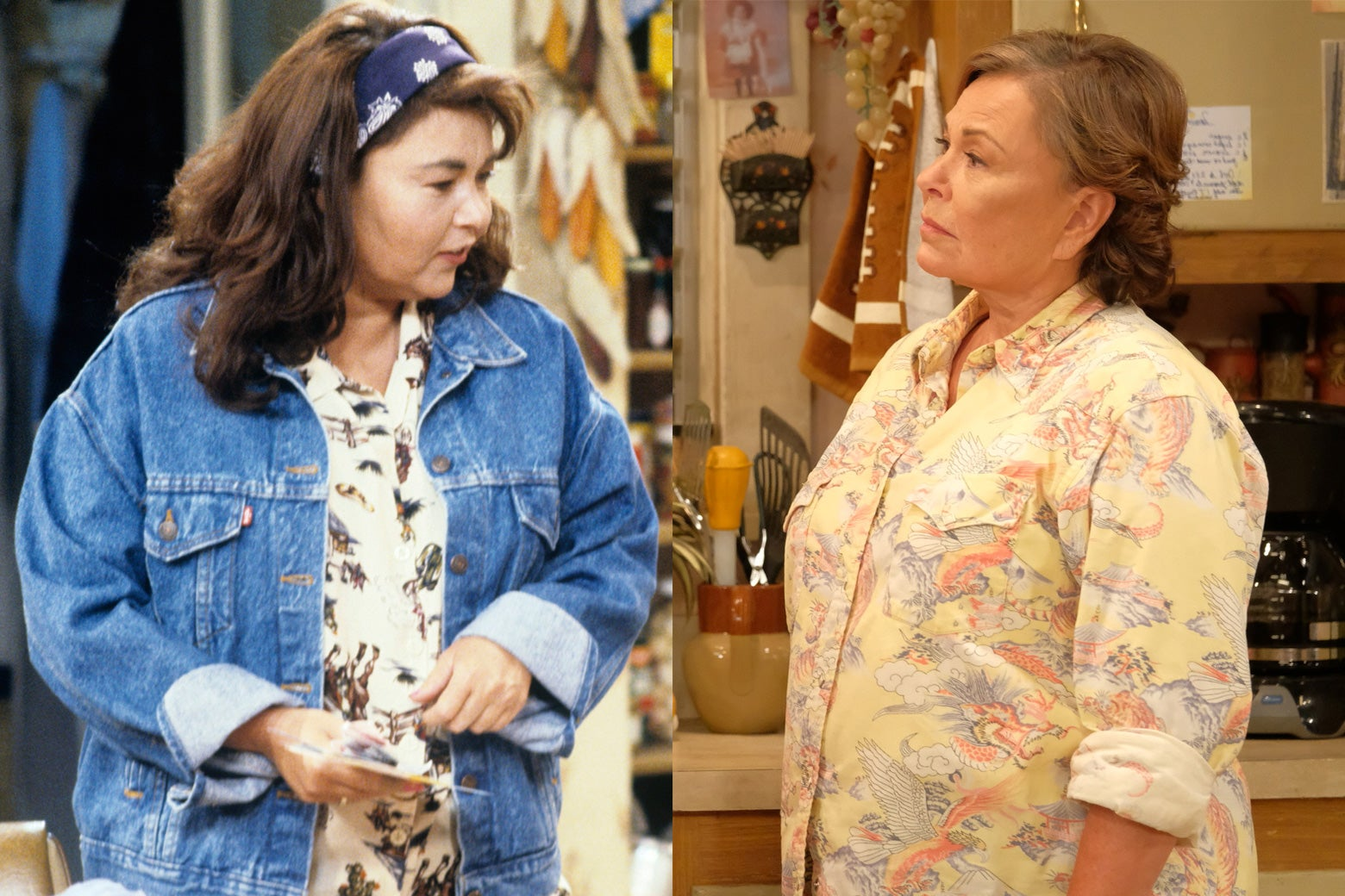 Roseanne Barr in the original series and the revival.