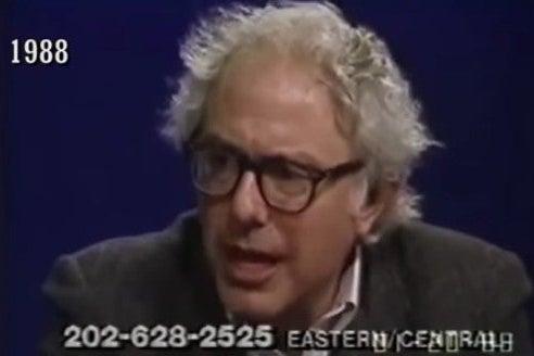 Screenshot of a video of Bernie Sanders speaking in 1988.
