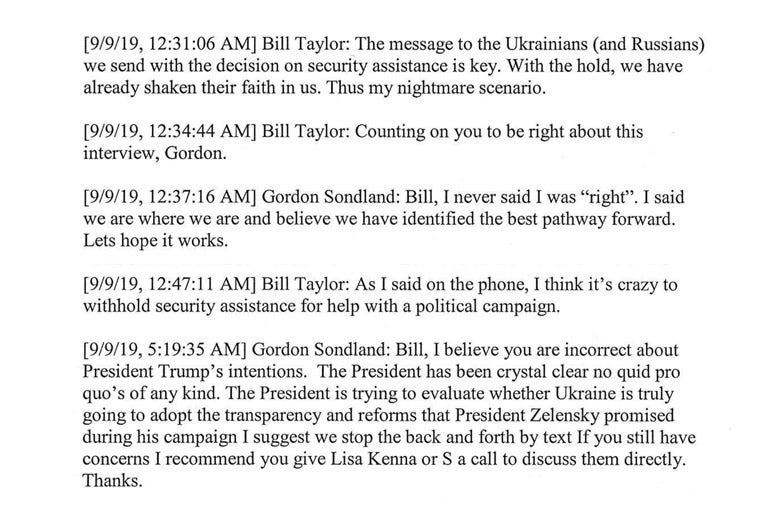A screenshot of text message exchanges released by congress after Kurt Volker's testimony.