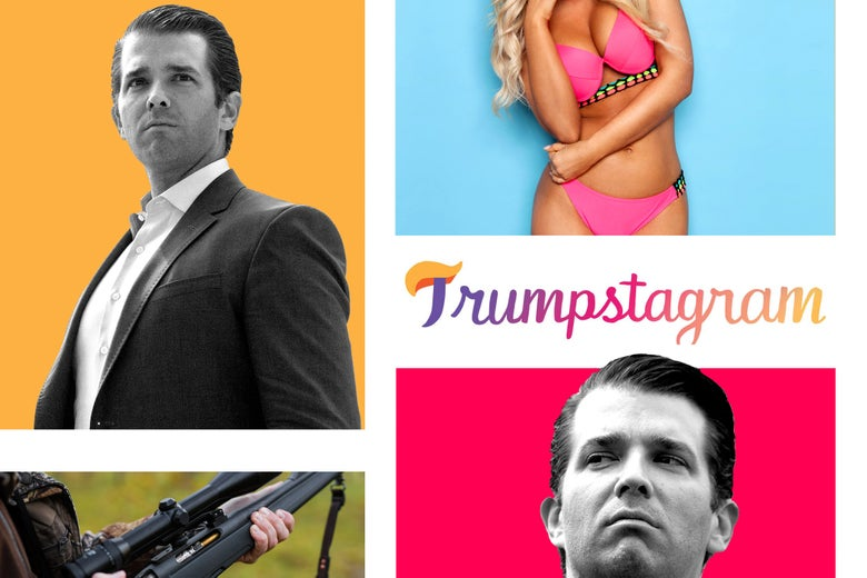 Donald Trump Jr., gun, woman in swimsuit.