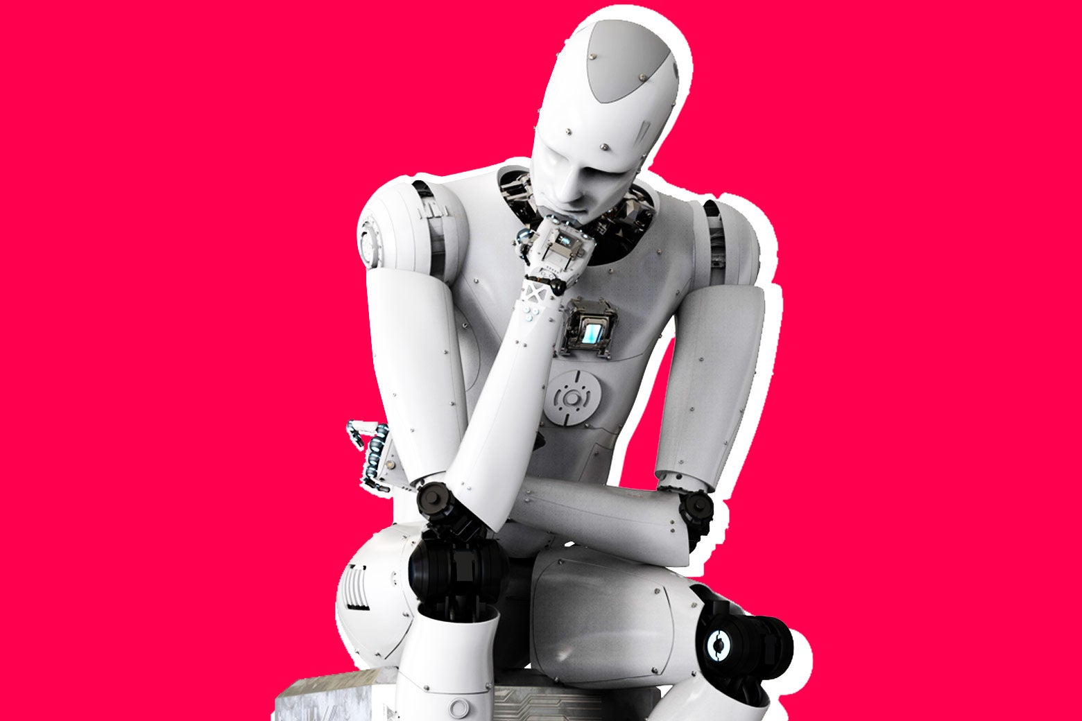 Photo illustration: a robot in a thinking pose.