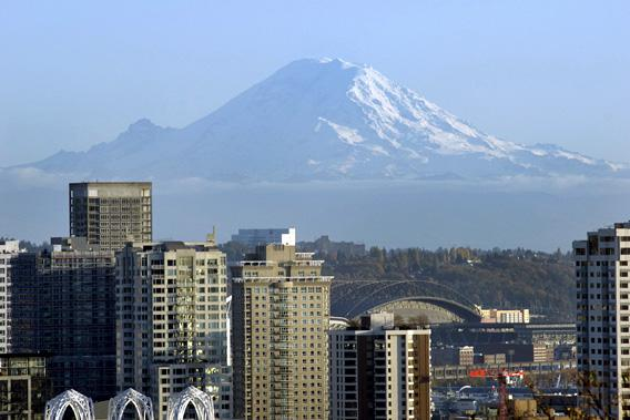 A view of downtown Seattle, WA with Mt. Rainier in the distance in 2009.