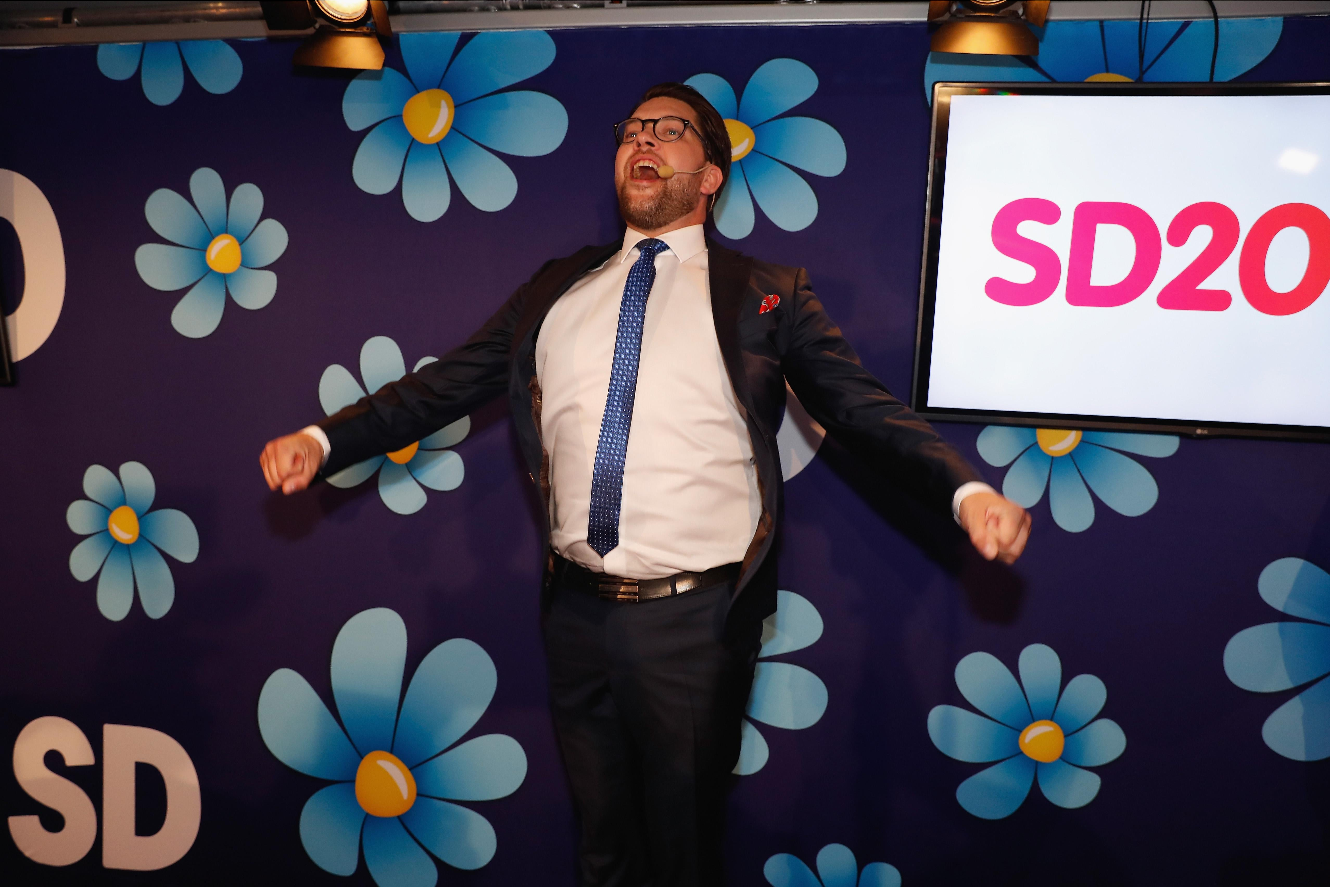 STOCKHOLM, SWEDEN - SEPTEMBER 09: Leader of the far-right Sweden Democrats Jimmy Akesson speaks to members and supporters at the party election center on September 9, 2018 in Stockholm, Sweden. Swedes have headed to the polls in a tightly contested general election where immigration has been a central issue of a heated campaign and which could see the far-right Sweden Democrats make significant gains. (Photo by Michael Campanella/Getty Images)