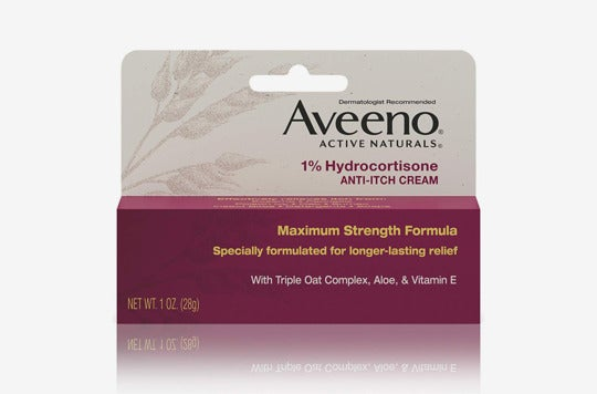 Aveeno 1% Hydrocortisone Anti-Itch Relief Cream.