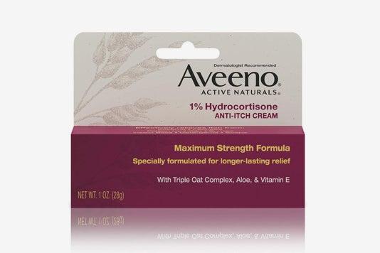 Aveeno 1% Hydrocortisone Anti-Itch Relief Cream.