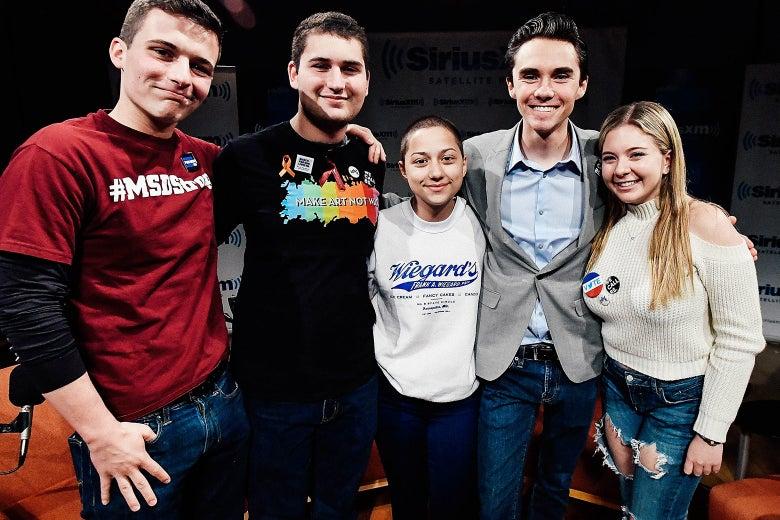Cameron Kasky, Alex Wind, Emma Gonzalez, David Hogg, and Jaclyn Corin.
