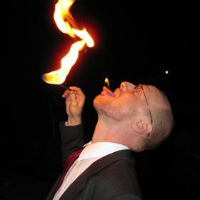 Phil Plait eats fire