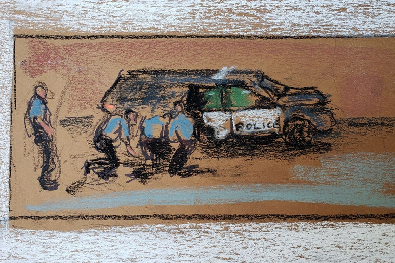 A courtroom sketch shows an image of George Floyd's arrest playing on a screen during the trial.