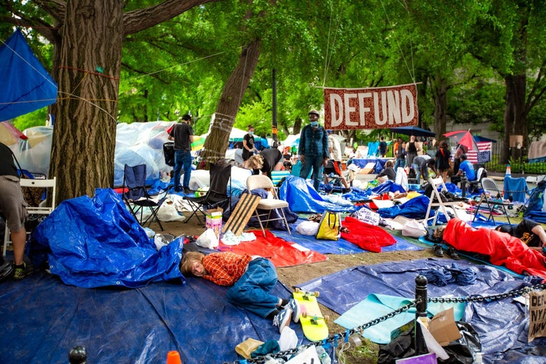 An Occupy City Hall camp in New York.