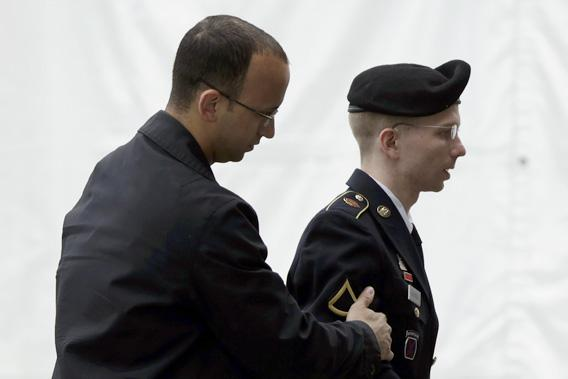Bradley Manning entering the courtroom, Fort Meade, Maryland.
