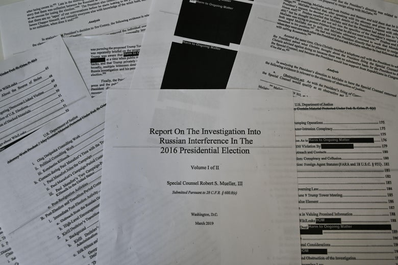 An illustration shows printed pages of the redacted Mueller Report on April 18, 2019, in Washington, DC.