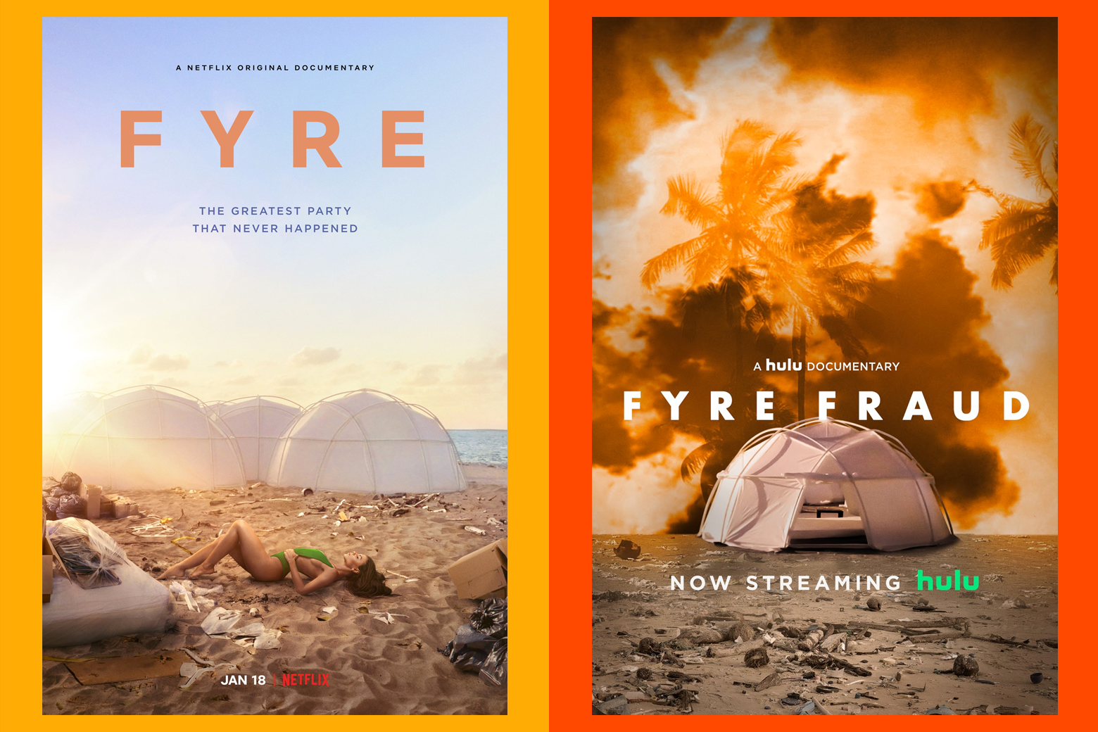 The posters for Netflix's Fyre and Hulu's Fyre Fraud, side by side.