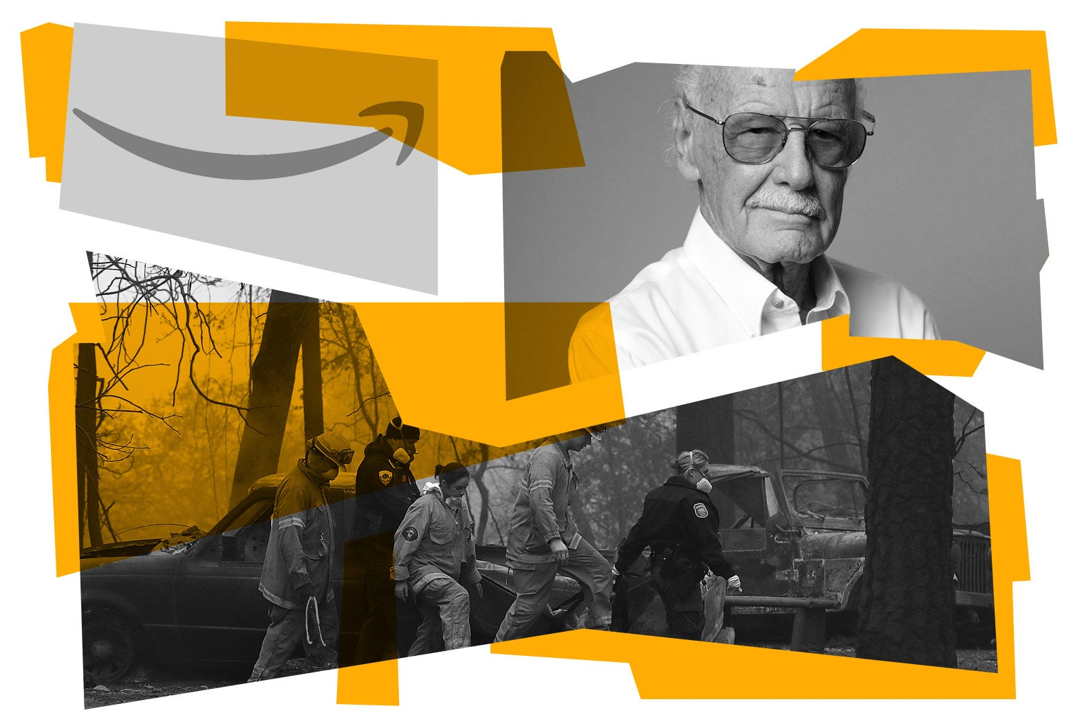 The Amazon logo, Stan Lee, and the Camp Fire.