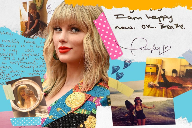 Collage of photos of Taylor Swift and snippets of the Lover deluxe edition diaries.