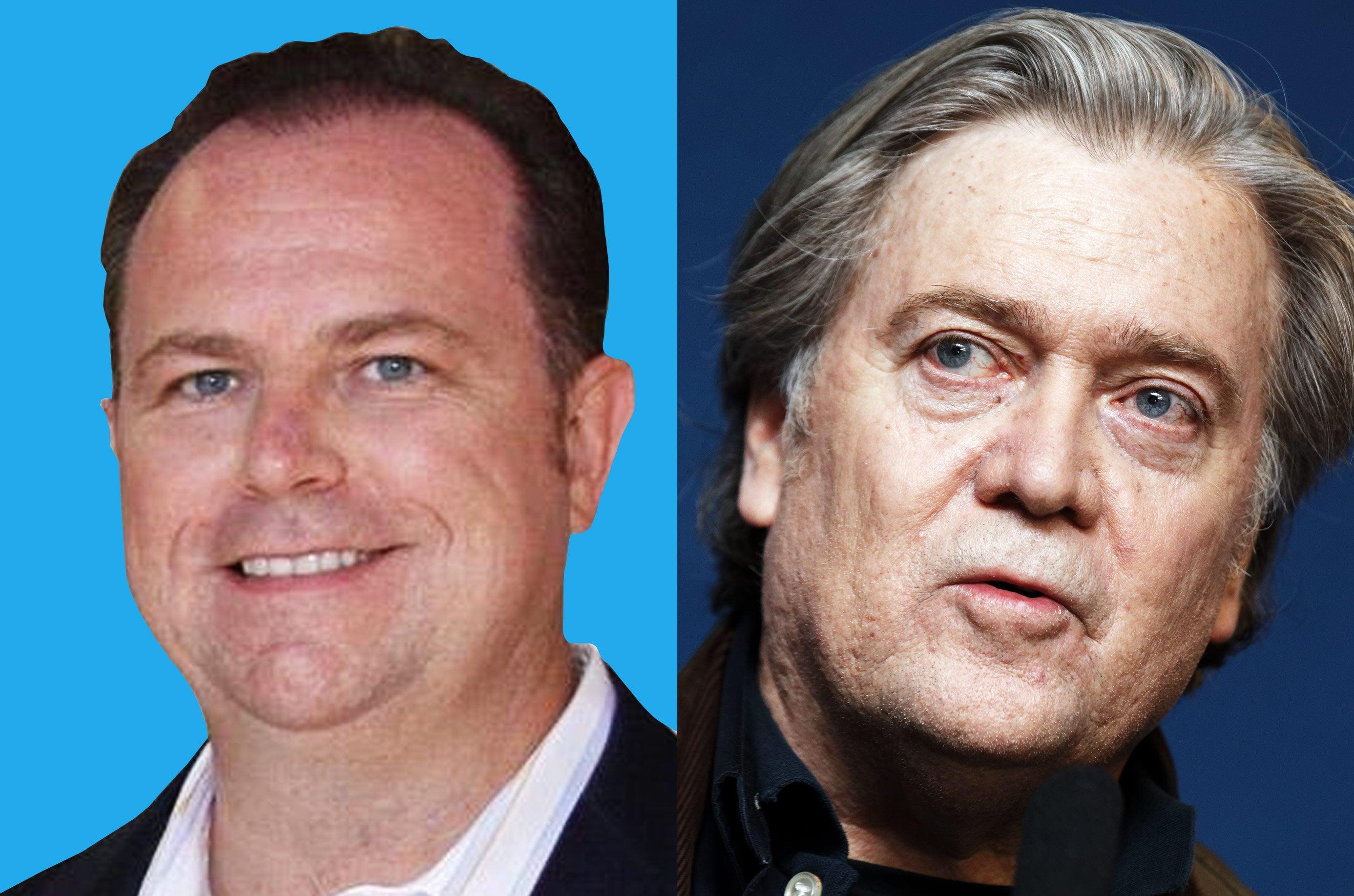 Newsmax CEO Christopher Ruddy and former presidential advisor Steve Bannon.
