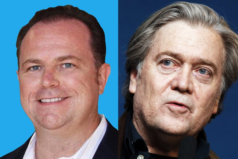 Newsmax CEO Christopher Ruddy and former presidential advisor Steve Bannon.