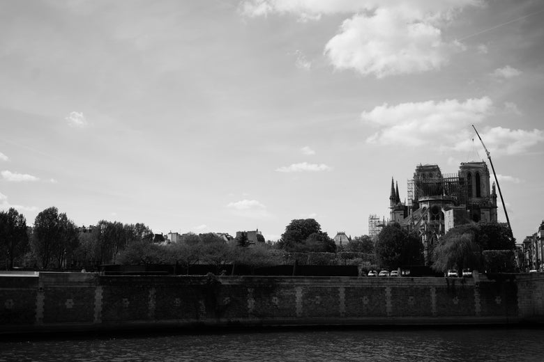 A general view of Notre Dame de Paris Cathedral in black and white on Thursday in Paris.