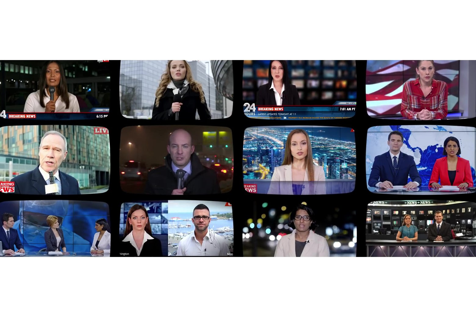 A shot from a Gillette ad of a wall of TVs showing news anchors.