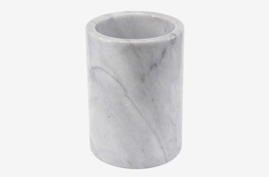 Artisanal Kitchen Supply Marble Utensil Crock in White.