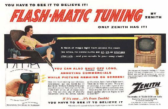 "Ad for Zenith's ""Flash-Matic""—a wireless TV remote shaped like a laser gun, introduced in 1955."