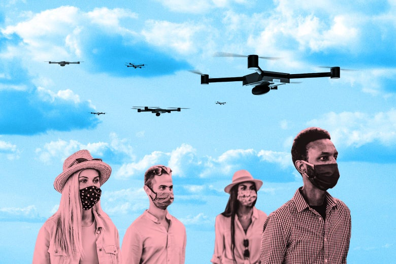Masked people walk under a clear blue sky while drones fly above.
