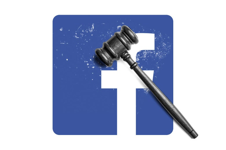 Photo illustration of the Facebook logo with a gavel superimposed.