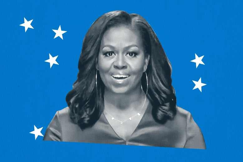 Michelle Obama speaking on video at the DNC