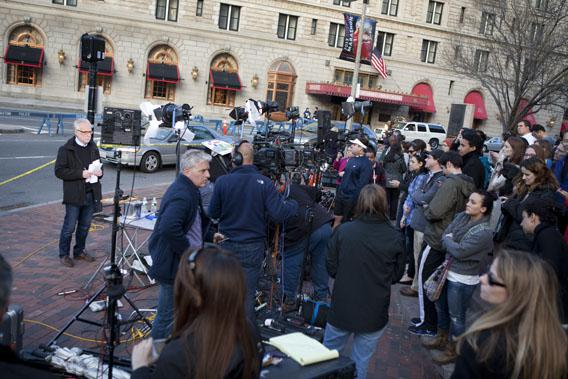 Two days after the tragedy, Wolf Blitzer of CNN attracts a crowd as he waits to go on air in Copley Square, close to the site of the Boston Marathon bombings, on April 17, 2013. Boston has been inundated with media from around the country and the world.