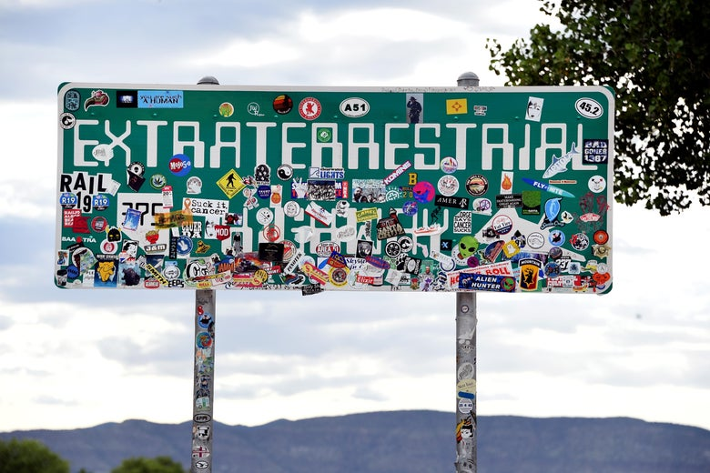 An Extraterrestrial Highway sign seen along state route 375 on July 22, 2019 near Rachel, Nevada.
