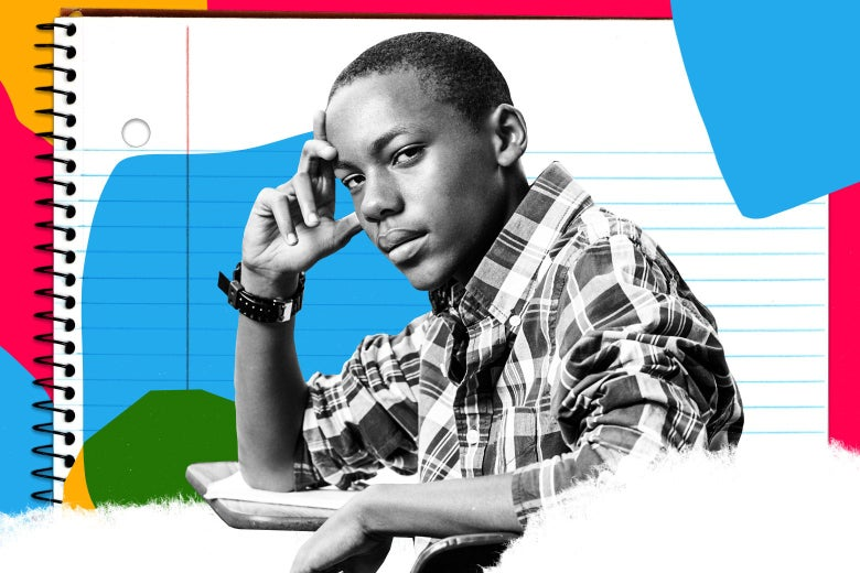Photo illustration of a boy looking bored in class in front of collage of paper and color blocks.
