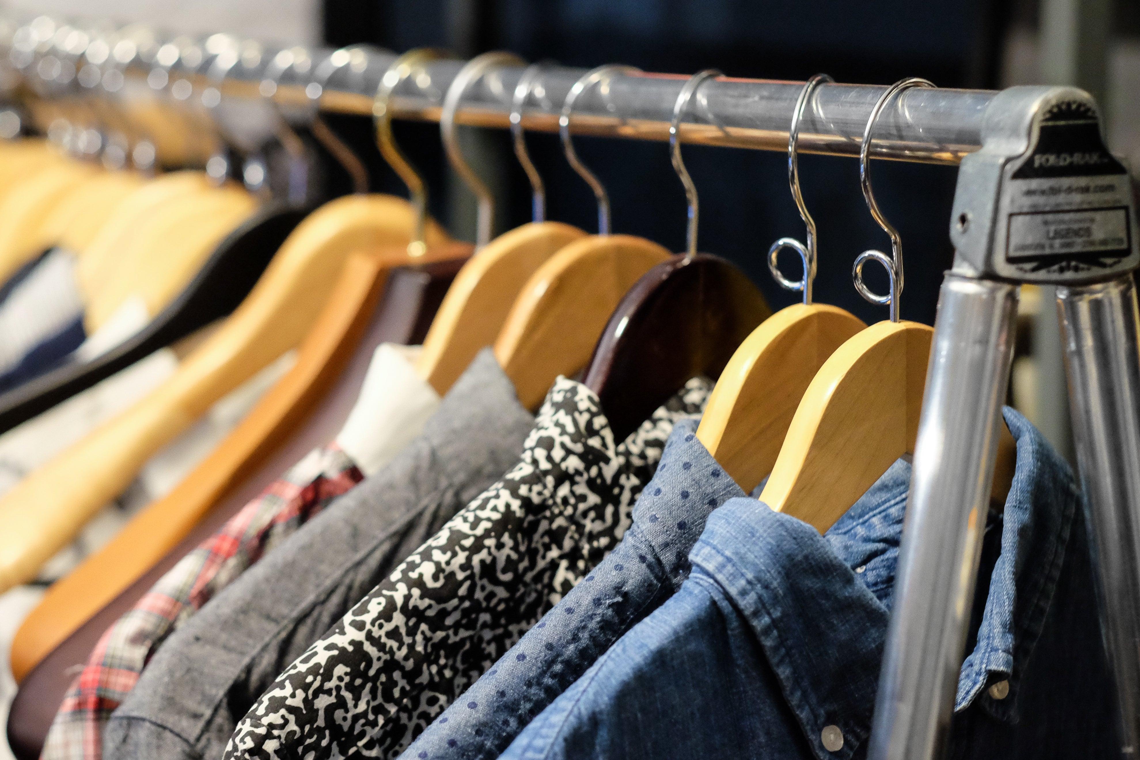 Hangers on a rack.