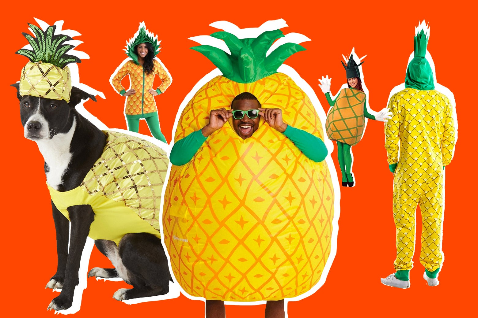 Photo illustration of various pineapple costumes