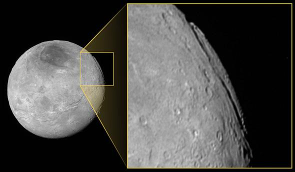 Pluto's moon Charon may have the tallest cliffs in the solar system.