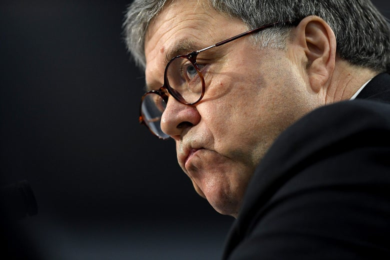 William Barr purses his lips, considers how best to spin his lies.