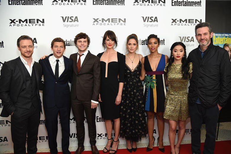 X-Men Apocalypse stars pose for a photo on the red carpet of a screening.