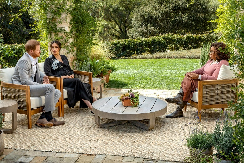 Oprah sits across from Harry and Meghan on a patio overlooking an immaculate lawn