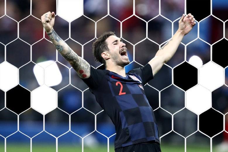 Sime Vrsaljko of Croatia celebrates victory.